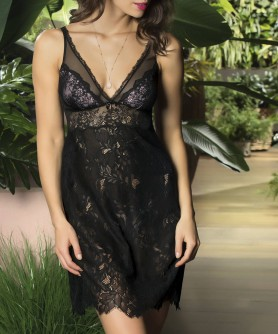 Nuisette sexy LISE CHARMEL RESILLE LOTUS NOIR LILAS