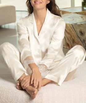 Pyjama soie LISE CHARMEL PRECIEUX DIADEME NACRE