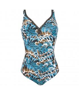 Maillot de bain une pièce nageur maintien sans armature bonnet profond ANTIGEL L'ANIMA BLEUE PEAU BLEUE