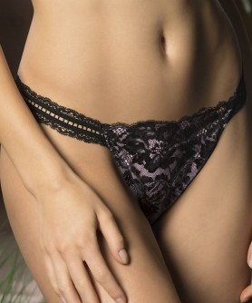 String sexy LISE CHARMEL RESILLE LOTUS NOIR LILAS