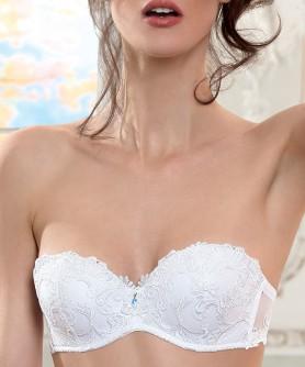 Soutien-gorge bandeau bretelles amovibles LISE CHARMEL DRESSING FLORAL BLANC