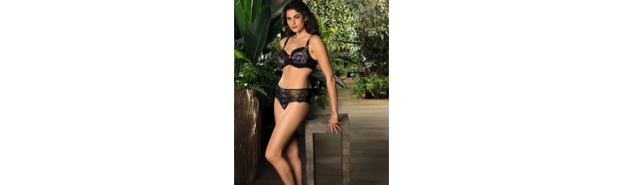 COLLECTION EPRISE DE LISE CHARMEL DENTELLE LOTUS NOIR LILAS