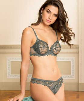 -50% COLLECTION LISE CHARMEL DRESSING FLORAL GRIS CELESTE